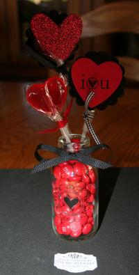 Valentine lollipop vase